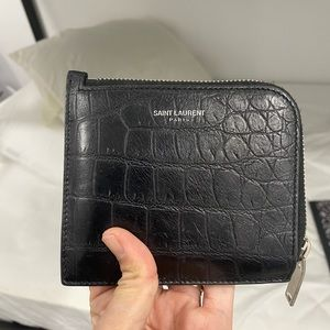 💯 YSL Saint Laurent Black leather 🐊 card case